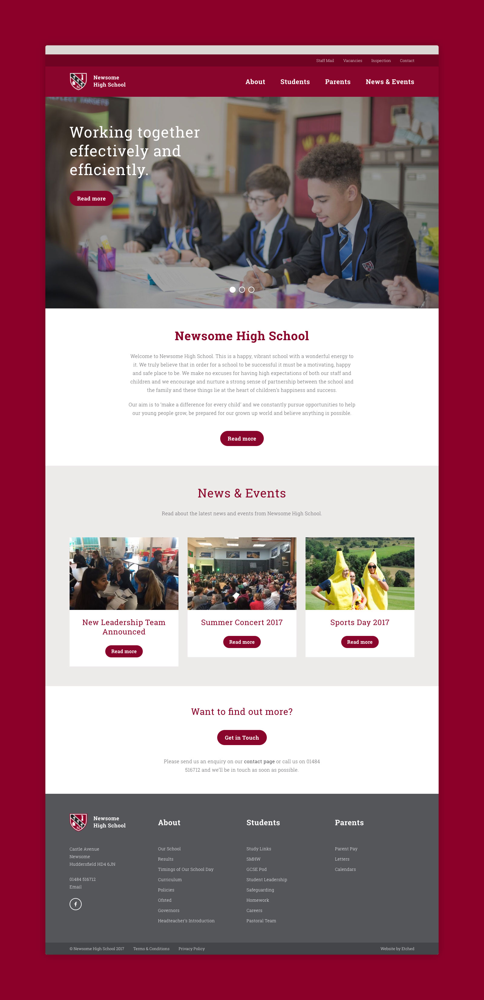 Newsome High School Website Design